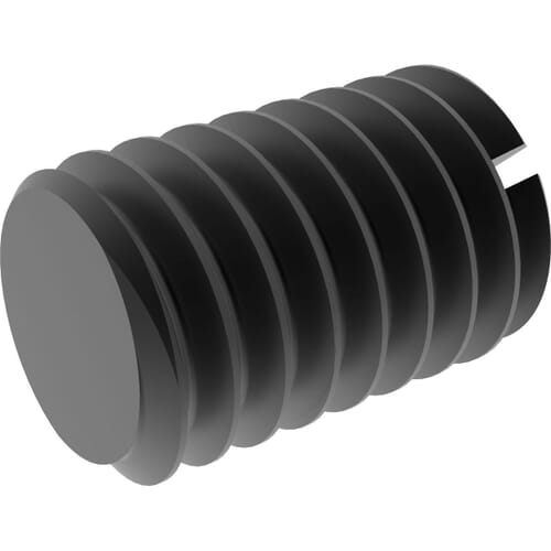 M10 x 70mm Slotted Head Flat Point Set / Grub Screws (DIN 551) - Black Stainless Steel (A2)
