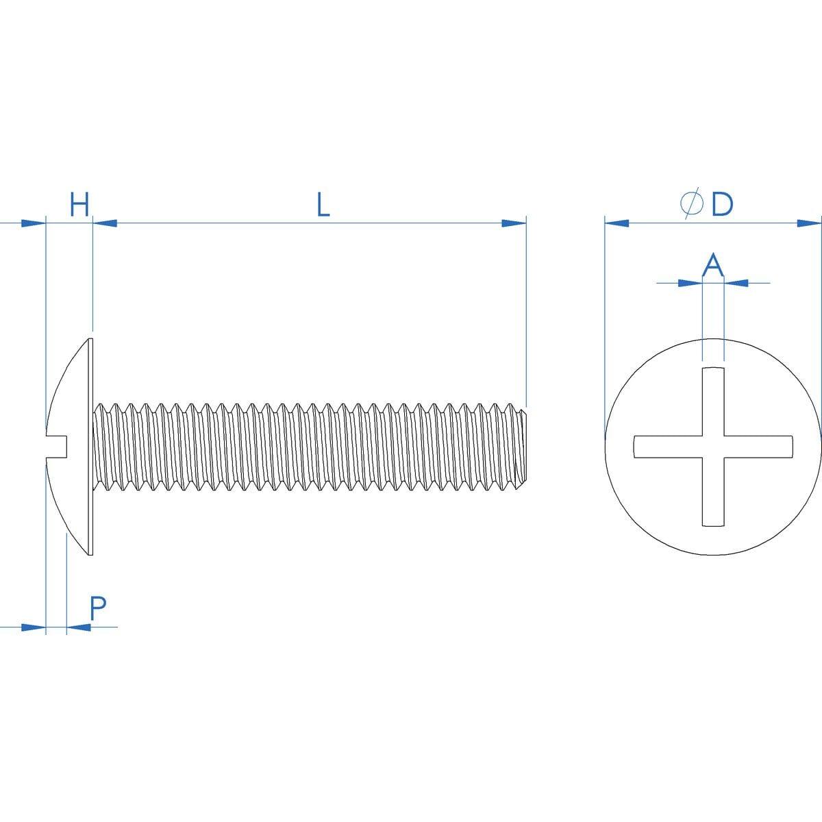M6 x 20mm Cross-Slotted Mushroom Head Screws (NF E 25-129) - PEEK Drawing