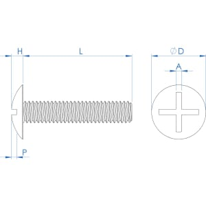 M6 x 20mm Cross-Slotted Mushroom Head Screws (NF E 25-129) - PEEK