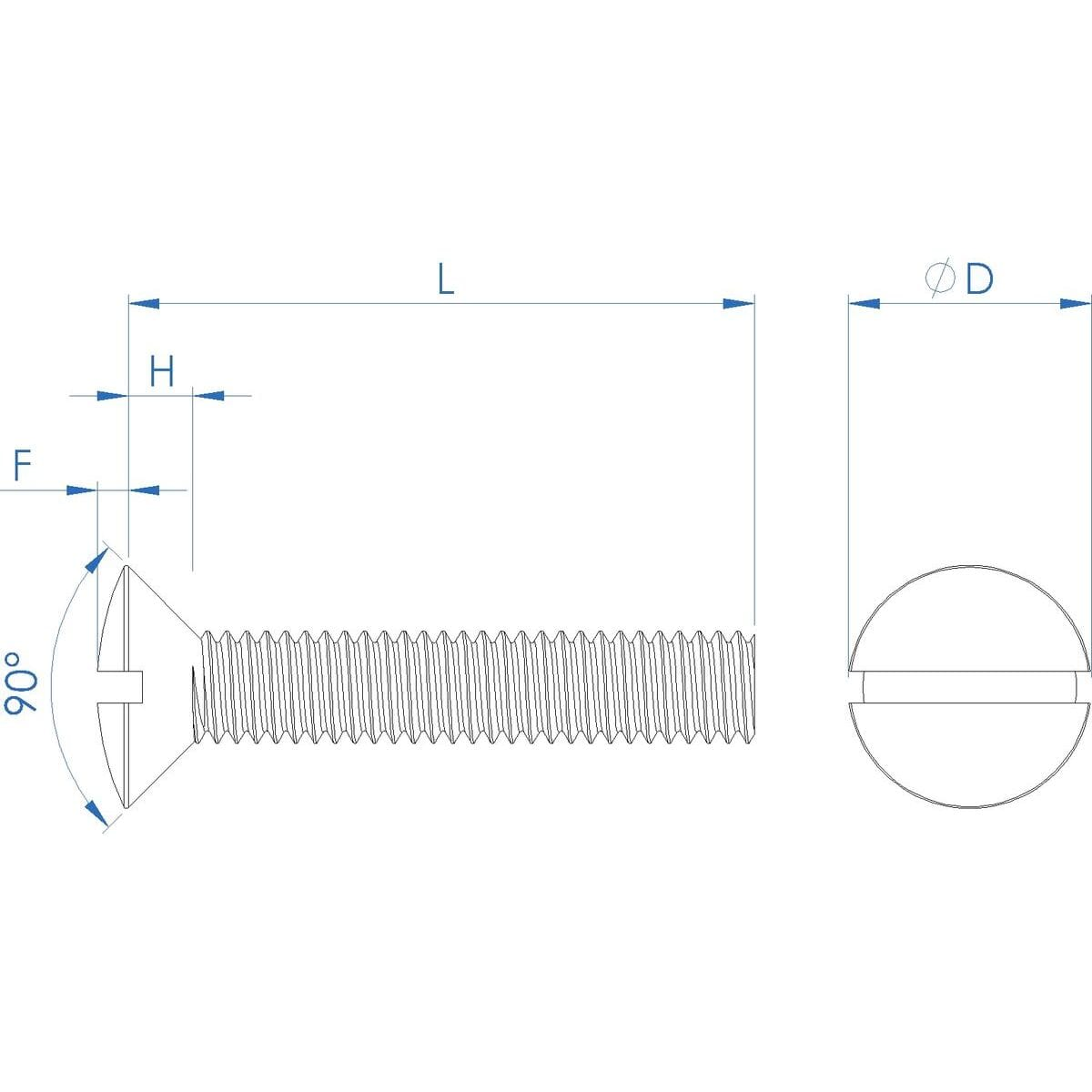 M10 x 50mm Raised Slotted Countersunk Screws (DIN 964) - Stainless Steel (A2) Drawing