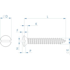 No.4 (2.9mm) x 3/8 inch (9.5mm) Slotted Self Tapping Raised Countersunk Screws (DIN 7973C) - Stainless Steel (A2)