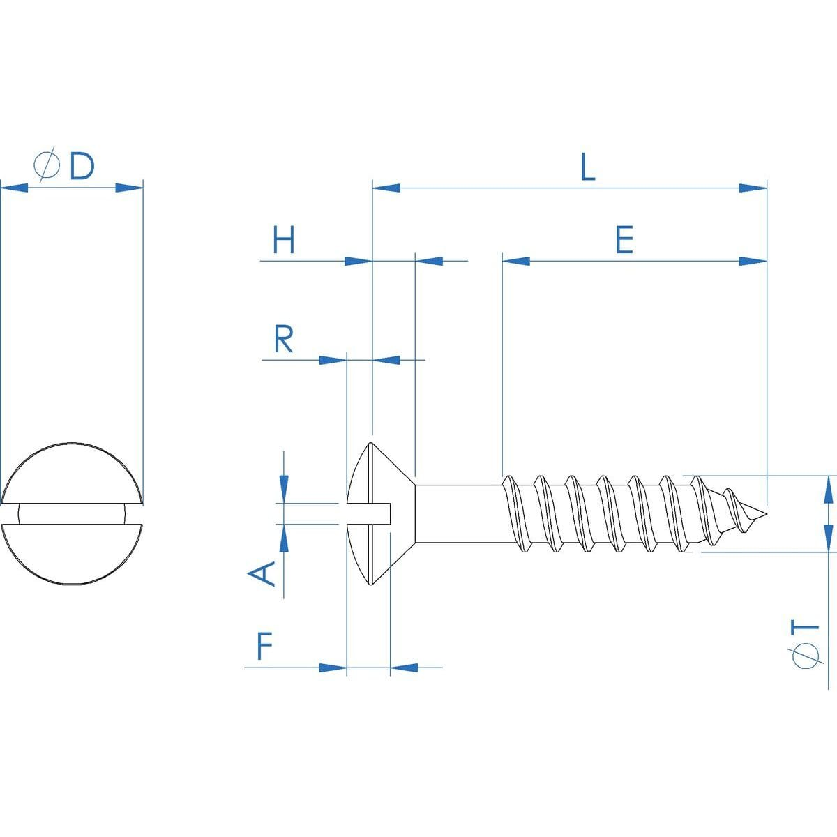 No.8 (4mm) x 20mm Slotted Raised Countersunk Wood Screws (DIN 95) - Black Stainless Steel (A2) Drawing