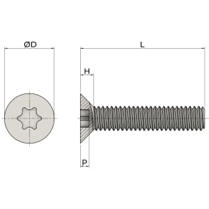 M5 x 25mm Torx Countersunk Screws (ISO 14581) - Thread Locking Marine Stainless Steel (A4)