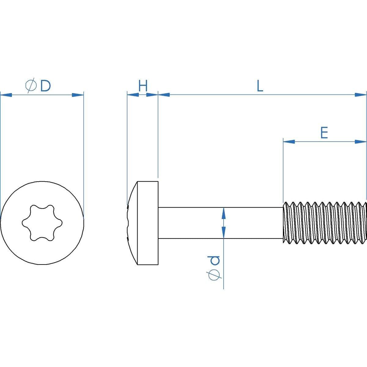 M4 x 20mm Torx Pan Head Captive Screws (DIN 7985) - Thread Locking Stainless Steel (A2) Drawing