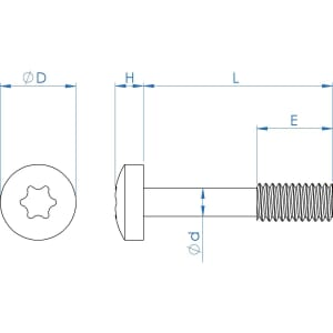 M6 x 35mm Torx Pan Head Captive Screws (DIN 7985) - Thread Locking Stainless Steel (A2)