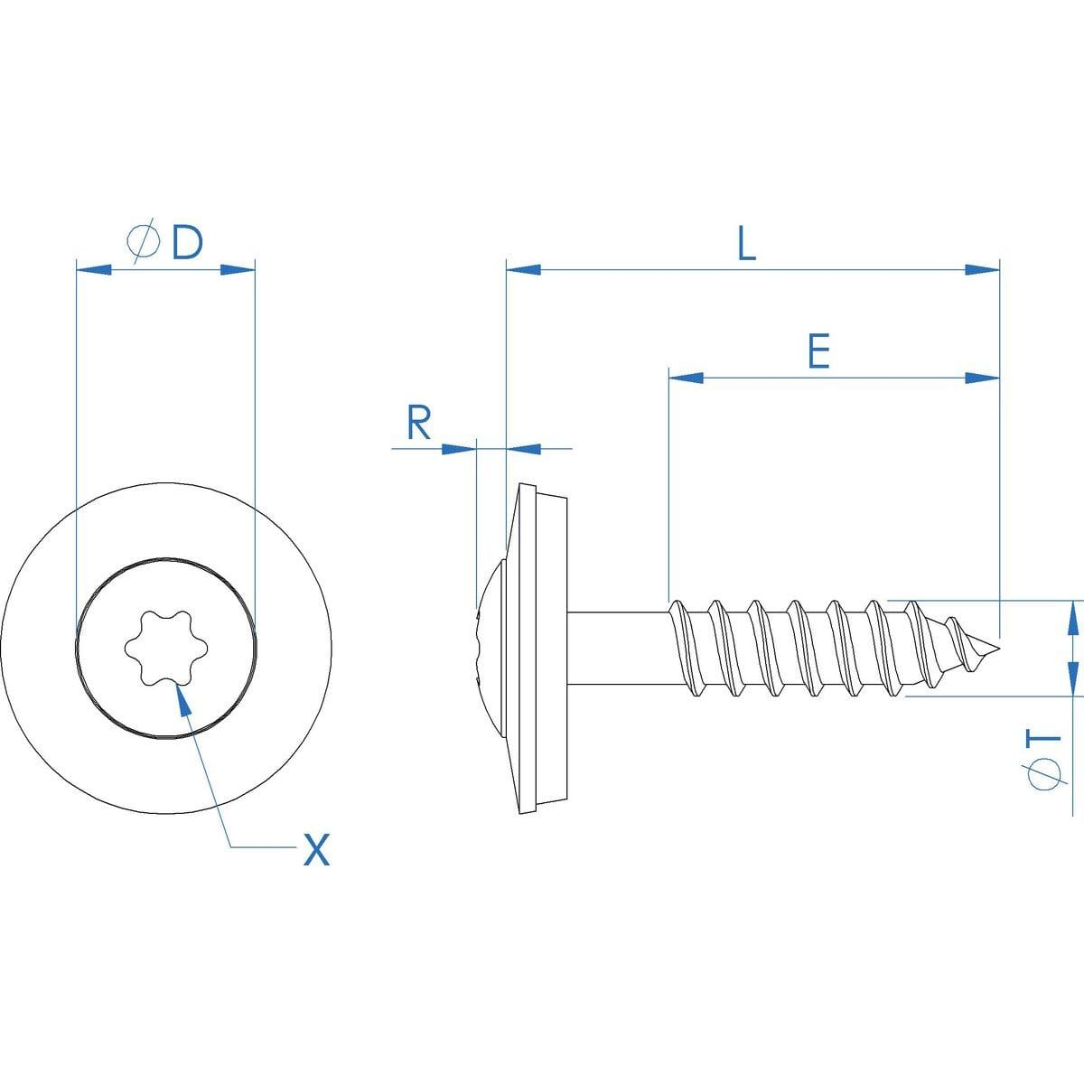No.9 (4.5mm) x 45mm x 25mm Sealing Raised Torx Countersunk Wood Screws - Stainless Steel (A2) Drawing