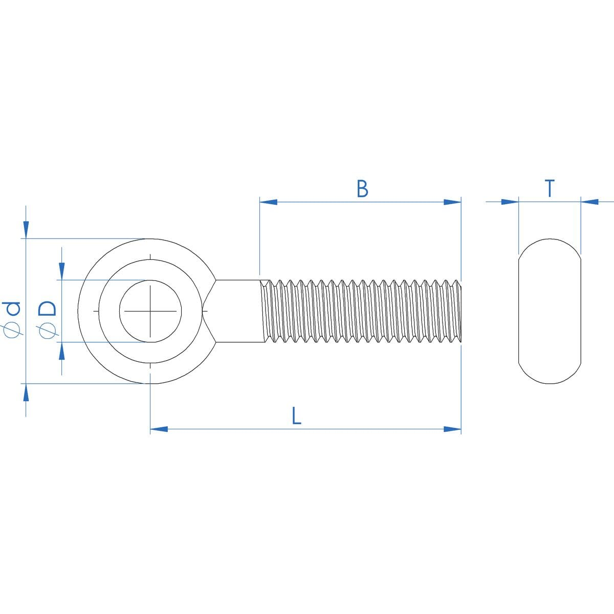 Precision Swing Eye Bolts Metric 10 pcs M24-3.0 X 90mm DIN 444 Type B A4 Stainless Steel