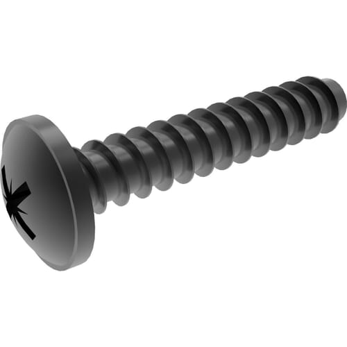 4mm x 16mm Pozi Flanged Button Polyfix (30) Screws - Black Stainless Steel (A2)