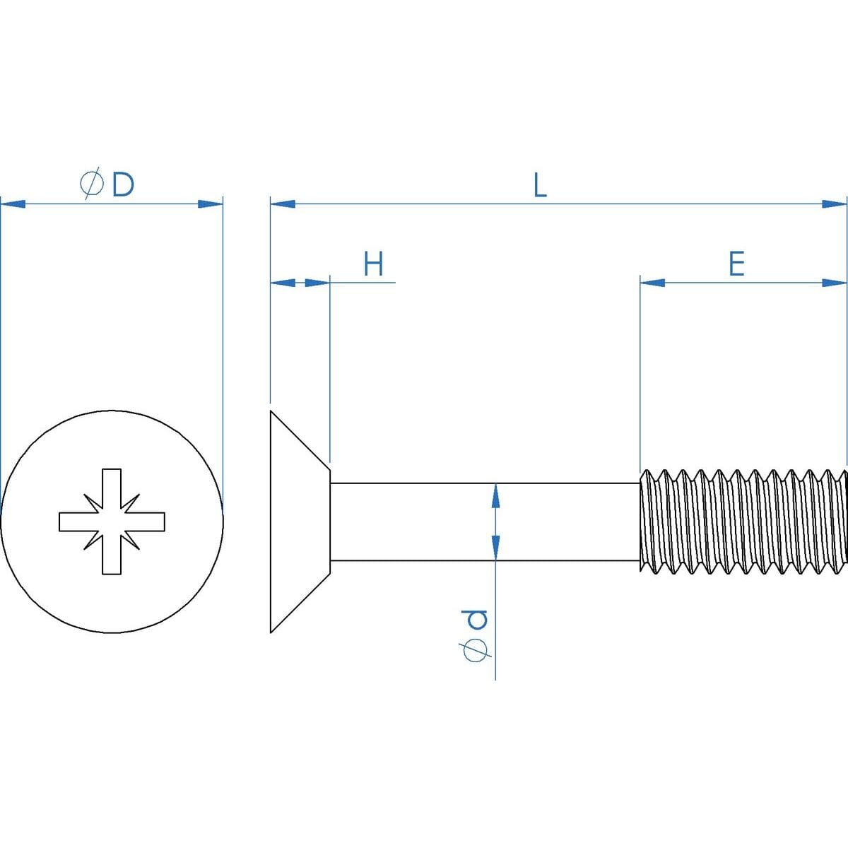 M3 x 20mm Pozi Countersunk Captive Screws (DIN 965Z) - Thread Locking Marine Stainless Steel (A4) Drawing