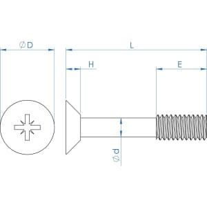 M3 x 20mm Pozi Countersunk Captive Screws (DIN 965Z) - Thread Locking Marine Stainless Steel (A4)