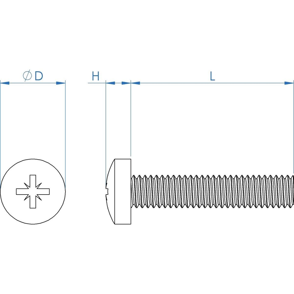 M6 x 14mm Pozi Pan Head Screws (DIN 7985Z) - Marine Stainless Steel (A4) Drawing