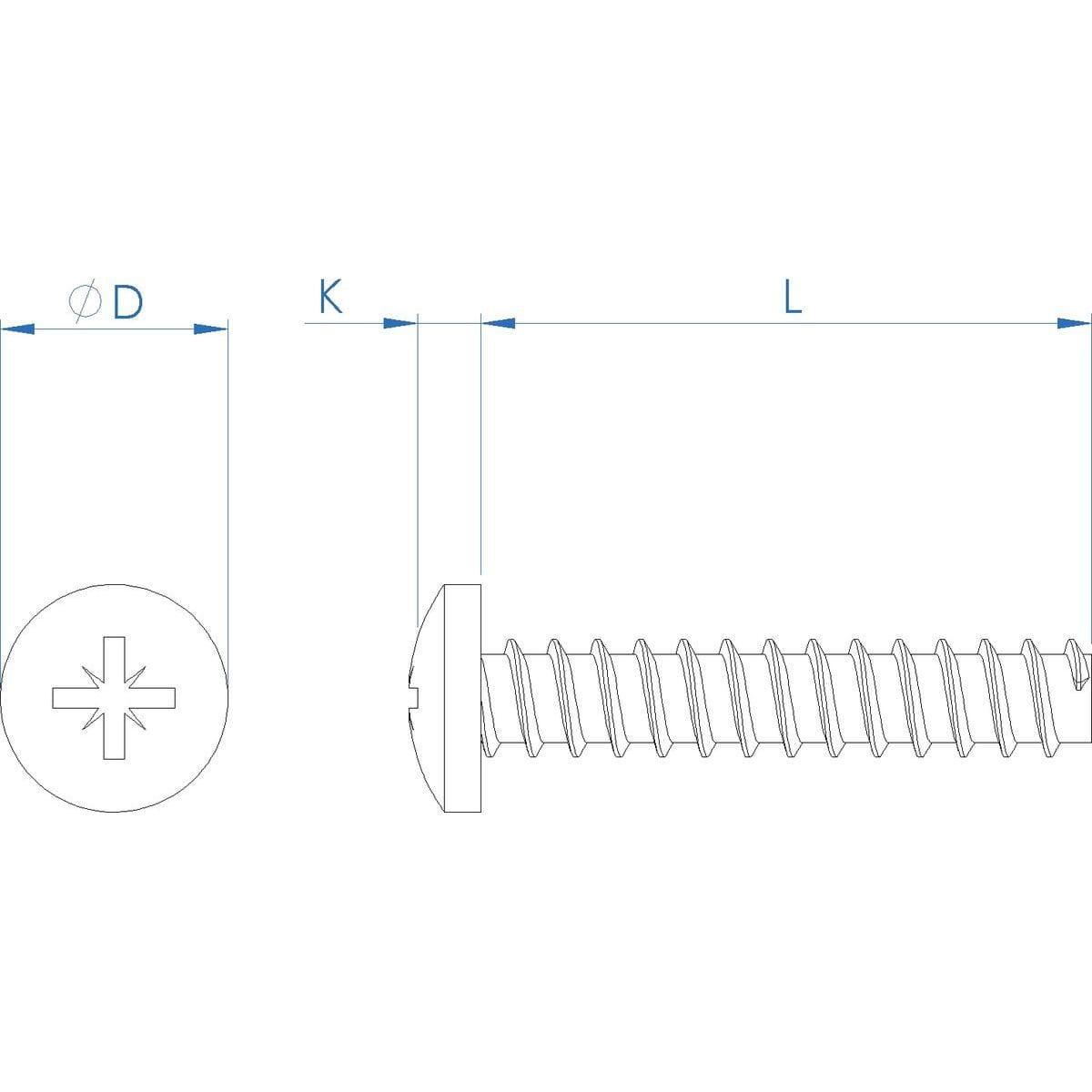 4mm x 10mm Pozi Pan Head Polyfix (30) Screws - Stainless Steel (A2) Drawing