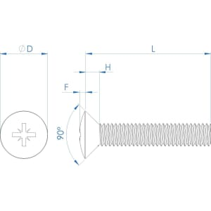 M6 x 20mm Raised Pozi Countersunk Screws (DIN 966) - Marine Stainless Steel (A4)