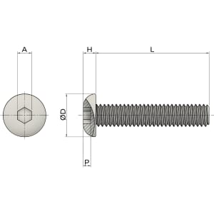 M8 x 100mm Socket Button Screws (ISO 7380) - Marine Stainless Steel (A4)