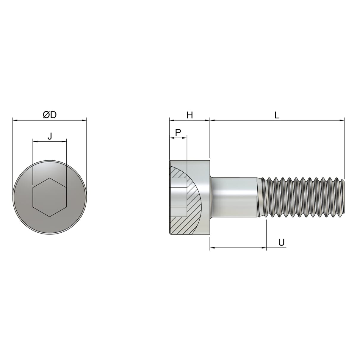 M6 x 70mm Cap Head Screws (DIN 912) - Marine Stainless Steel (A4) Drawing