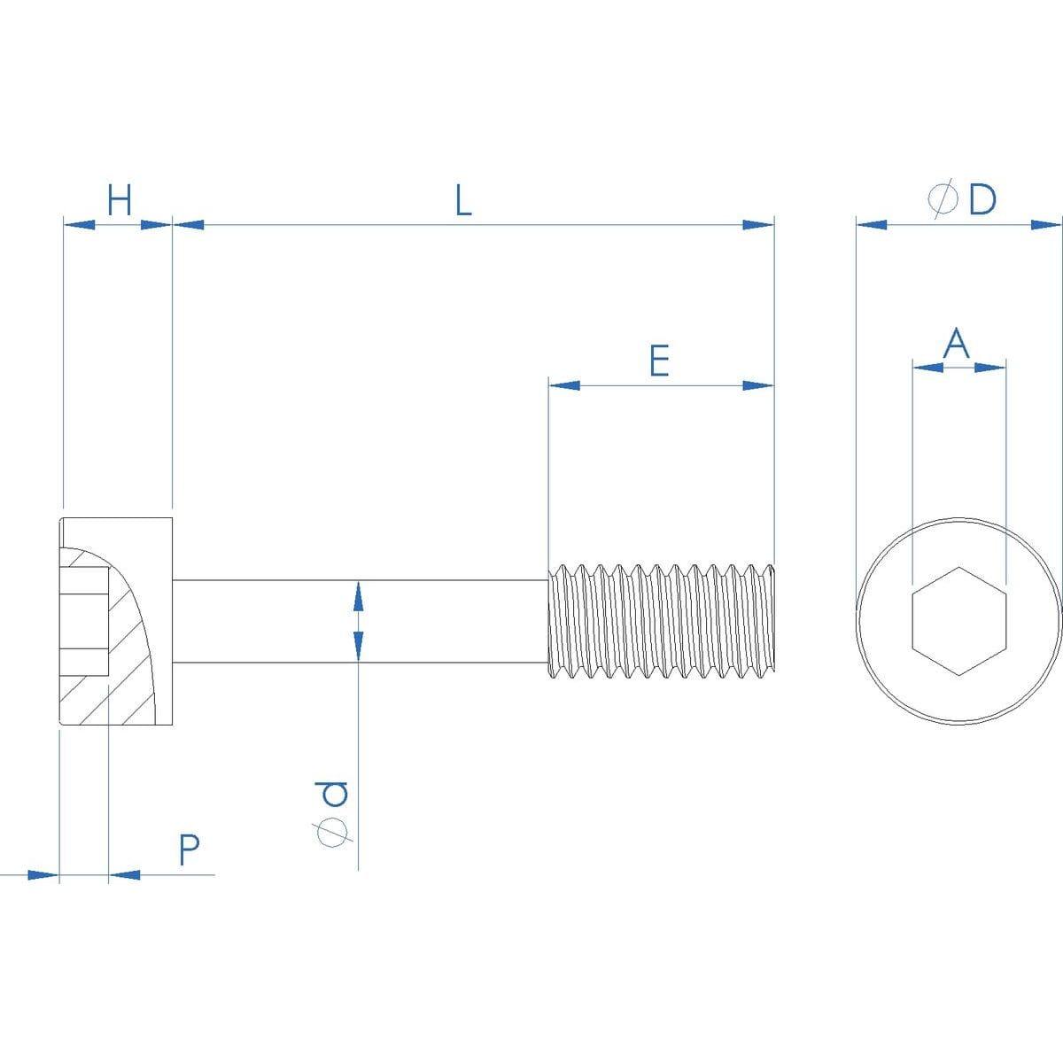 M5 x 20mm Cap Head Captive Screws (DIN 912) - Stainless Steel (A2) Drawing