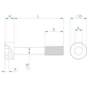 M5 x 20mm Cap Head Captive Screws (DIN 912) - Stainless Steel (A2)