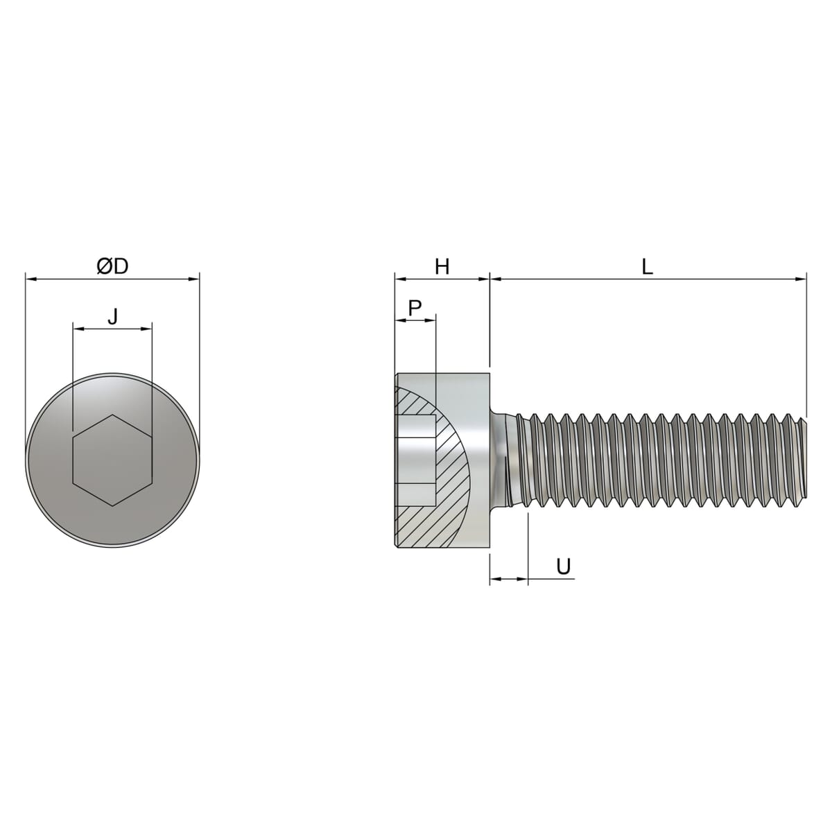 M5 x 12mm Full Thread Cap Head Screws (DIN 912) - Stainless Steel (A2) Drawing