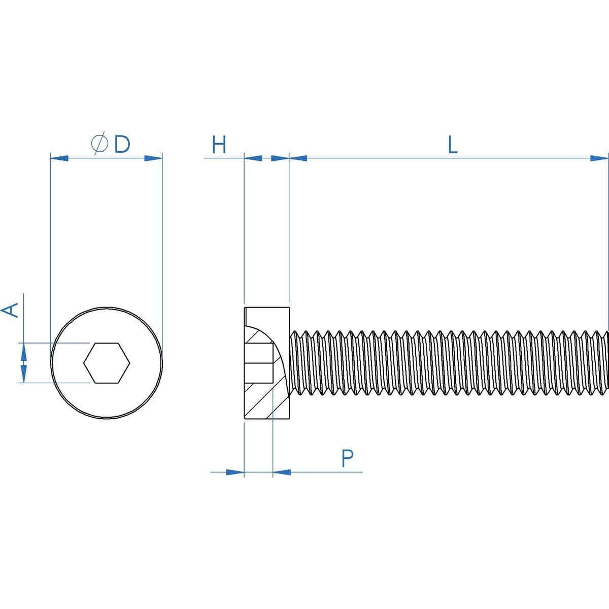 M4 x 6mm Low Head Cap Screws (DIN 7984) - Stainless Steel (A2) Drawing