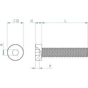 M8 x 20mm Low Head Pilot Recess Cap Screws (DIN 6912) - Stainless Steel (A2)
