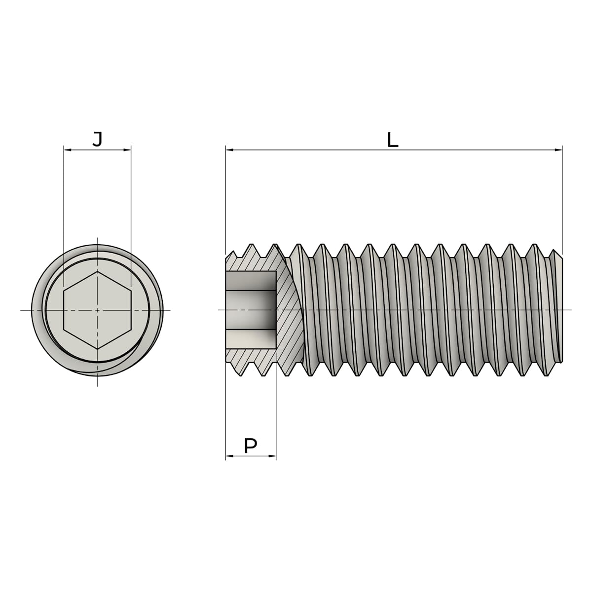 M12 x 25mm Flat Point Set / Grub Screws (DIN 913) - Marine Stainless Steel (A4) Drawing