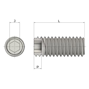 M12 x 25mm Flat Point Set / Grub Screws (DIN 913) - Marine Stainless Steel (A4)