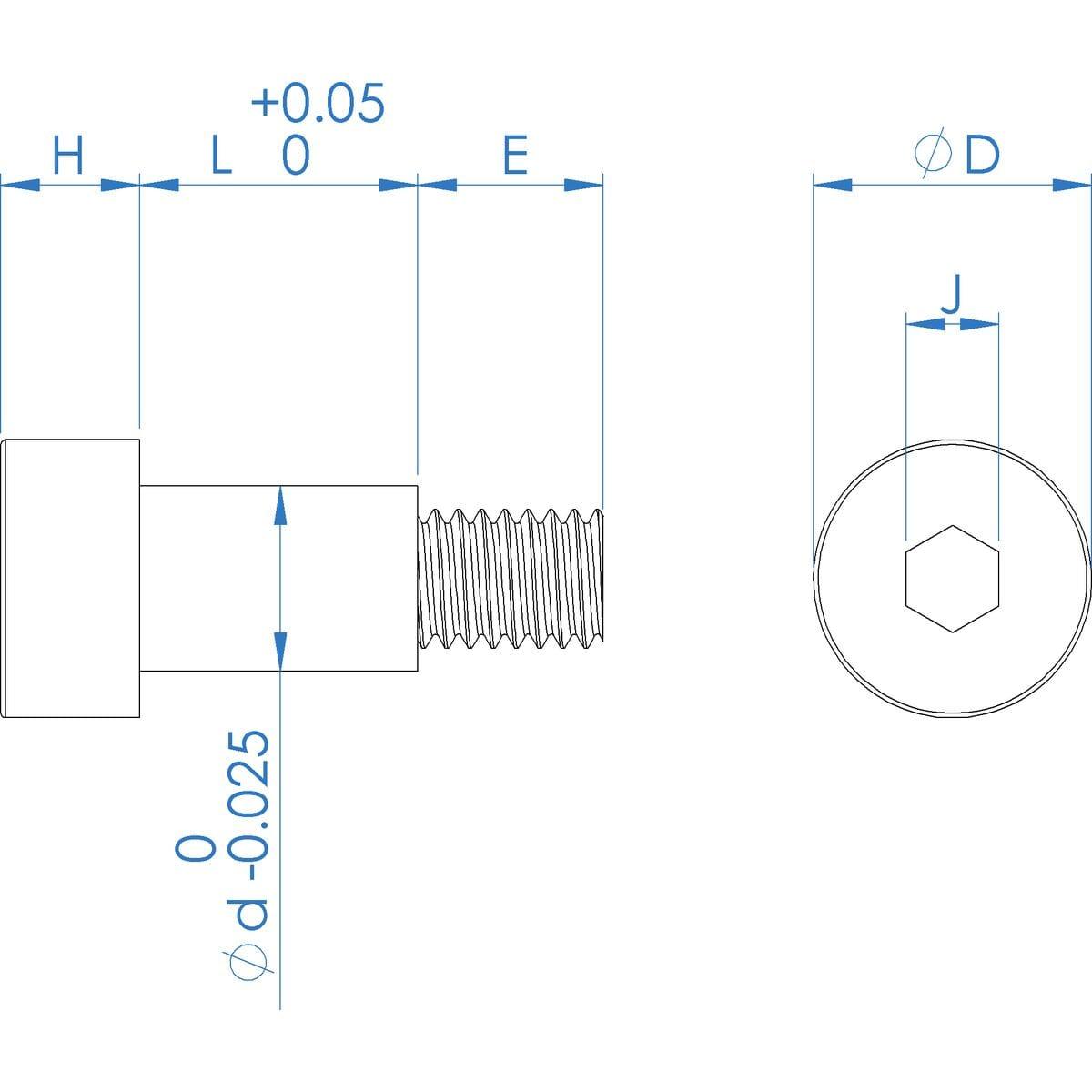 M3 (4mm) x 10mm AMPG Socket Shoulder Screws - A2 Stainless Steel Drawing