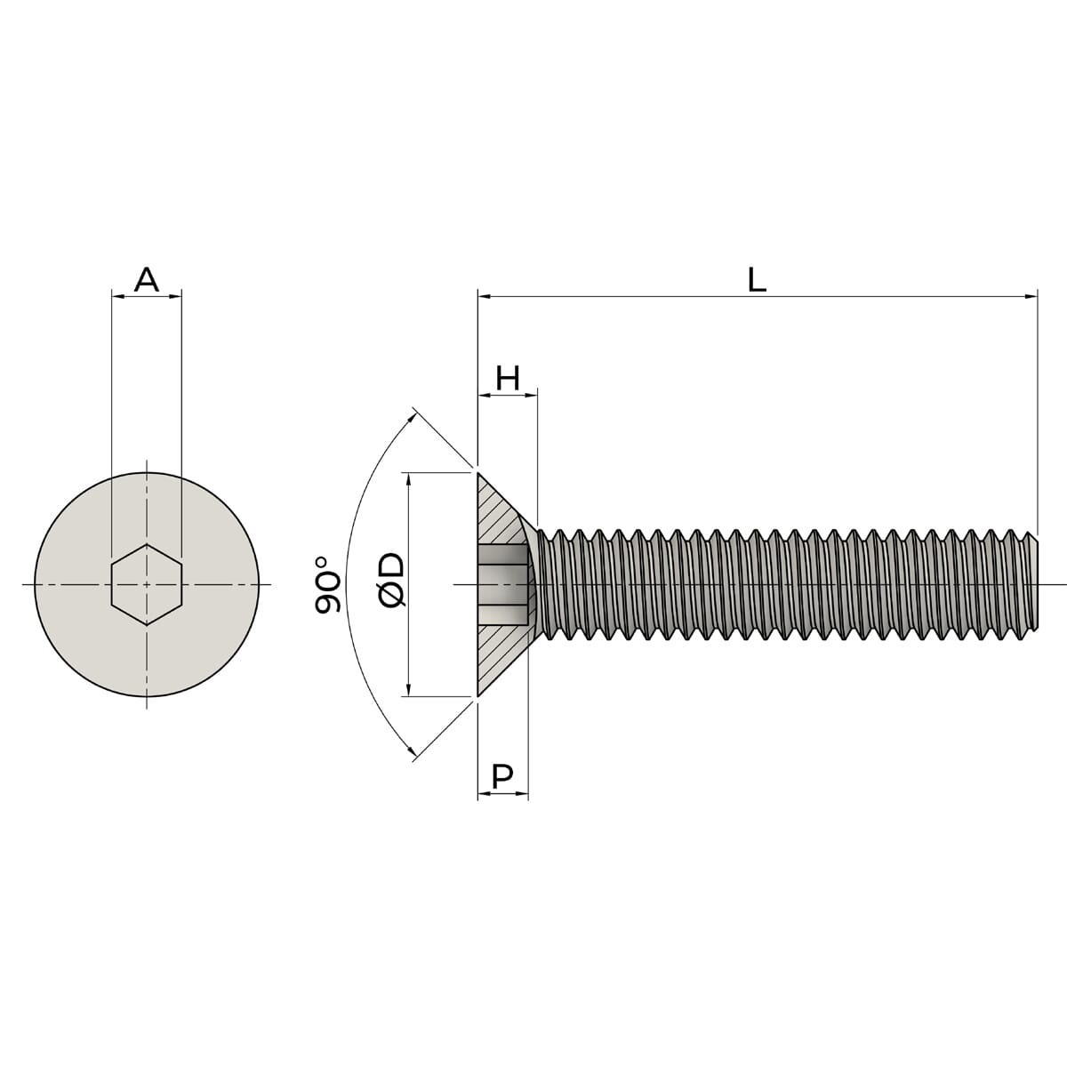 M10 X 50mm Socket Countersunk Screws (ISO 10642) - High Tensile Steel (10.9) Drawing