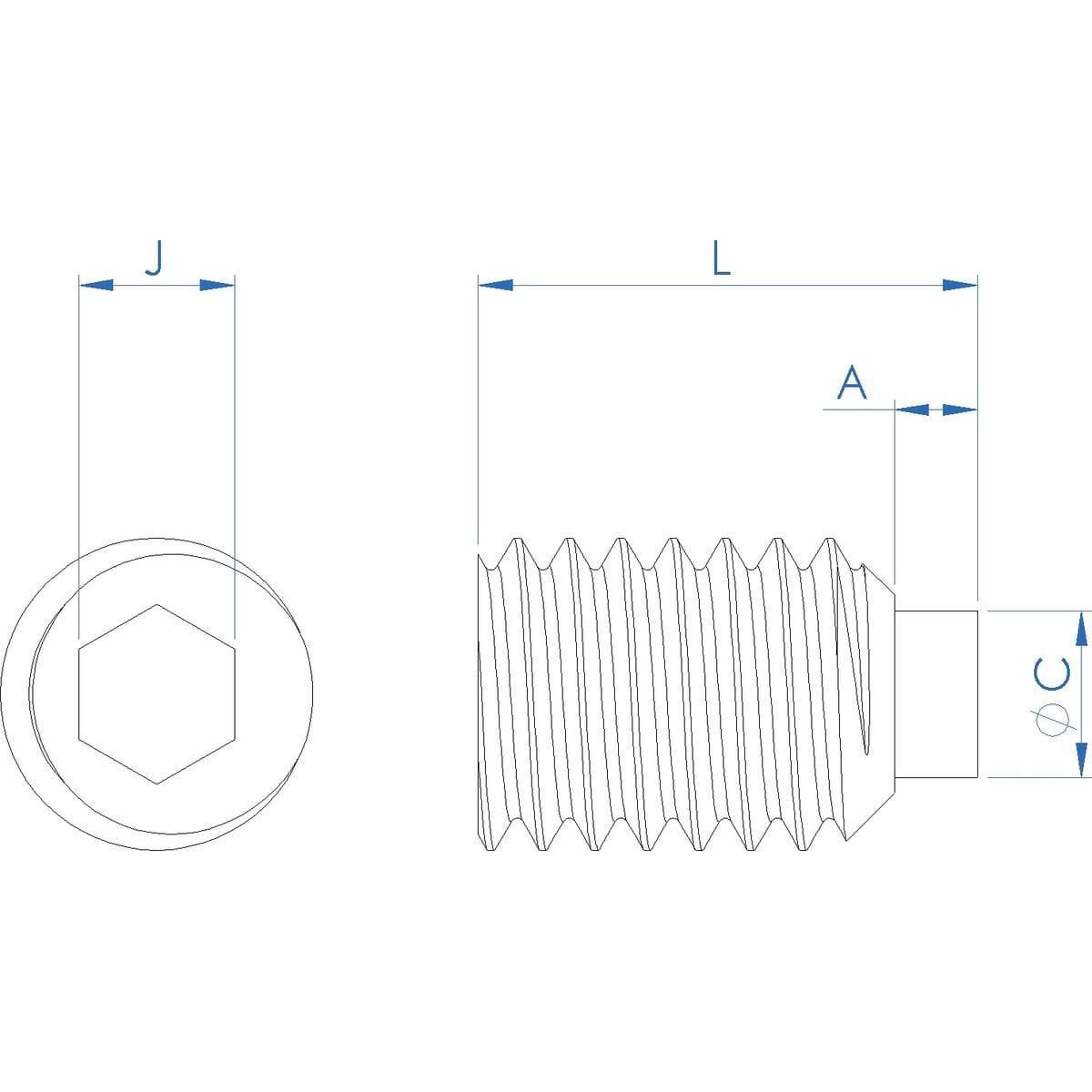 M3 x 4mm Nylon Tip Set Screws / Grub Screws - Stainless Steel / Nylon Insert Drawing
