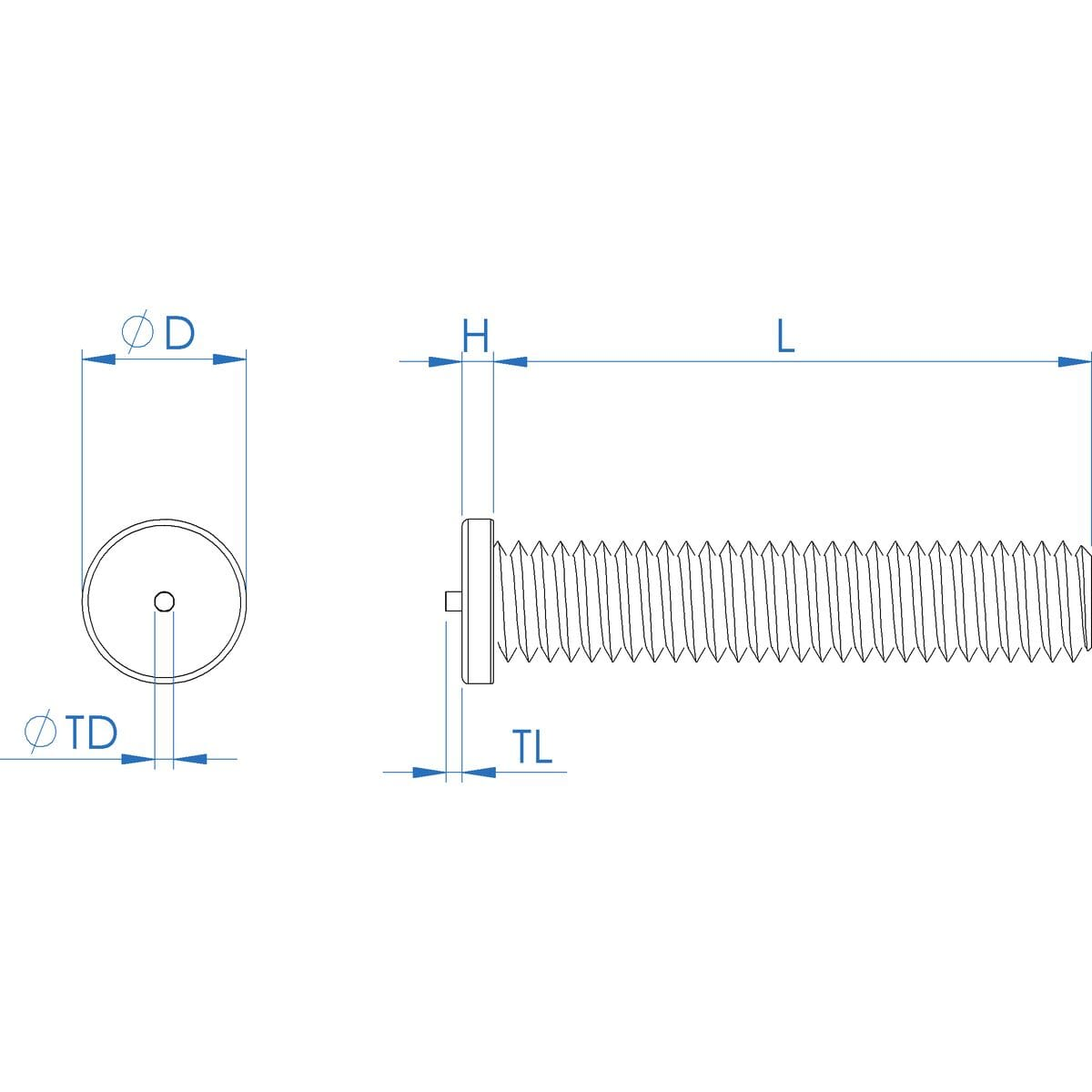 M5 x 12mm Threaded Weld Studs (ISO 13918) - Stainless Steel (A2) Drawing