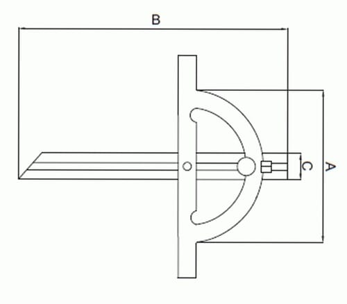 0 - 180 Degrees [+/-0.3 Degrees] 250mm x 500mm Analogue Protractor (Insize 4797)