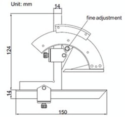 0 - 320 Degrees [+/-0.033 Degrees] 138mm x 150mm Analogue Fine Adjustment Protractor (Insize 2374)